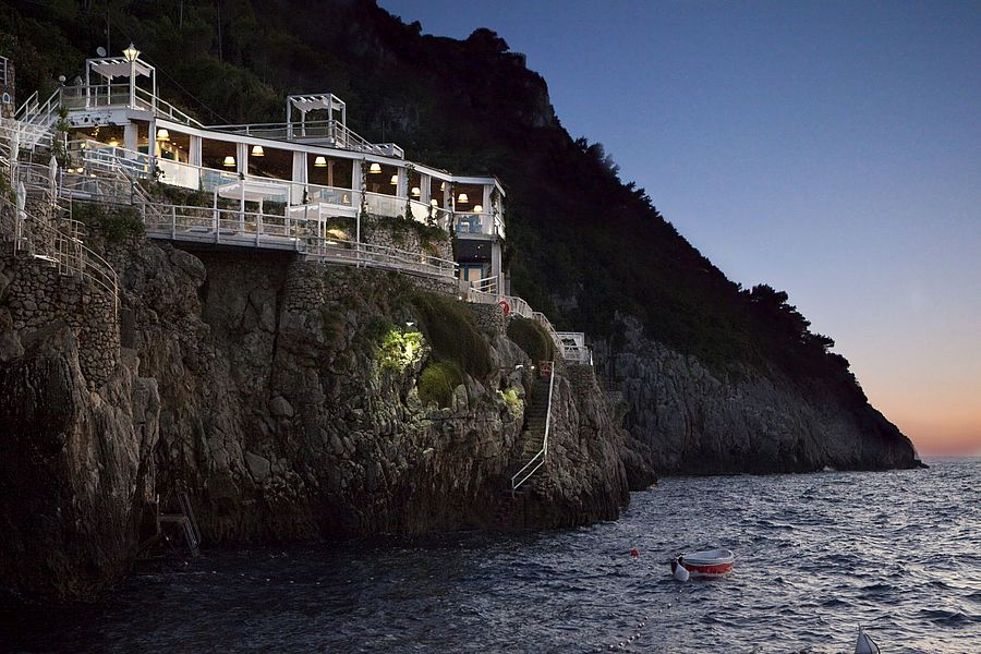 restaurant built into a cliff on Capri