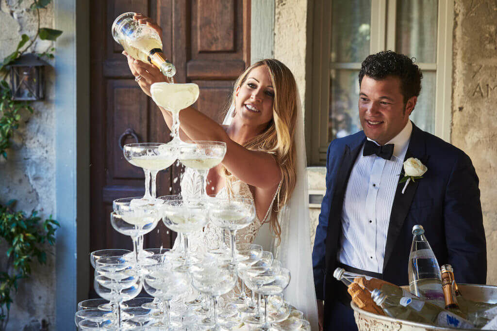 French Wedding Tradition of a Champagne Tower