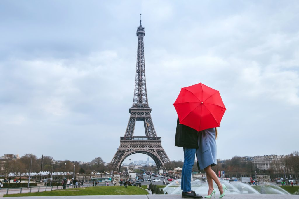 Couple on a honeymoon in Paris in the Fall
