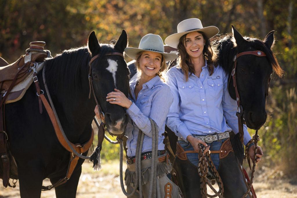 2 ladies with 2 horses