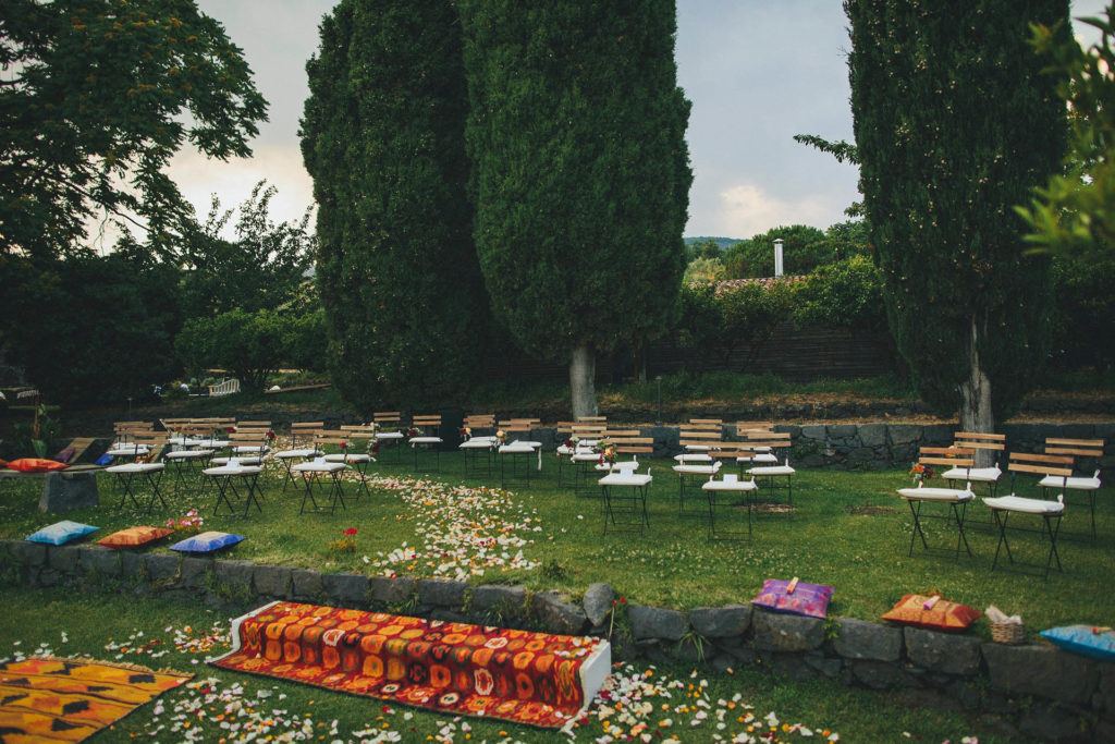 Countryside wedding setup on the lawn in Sicily
