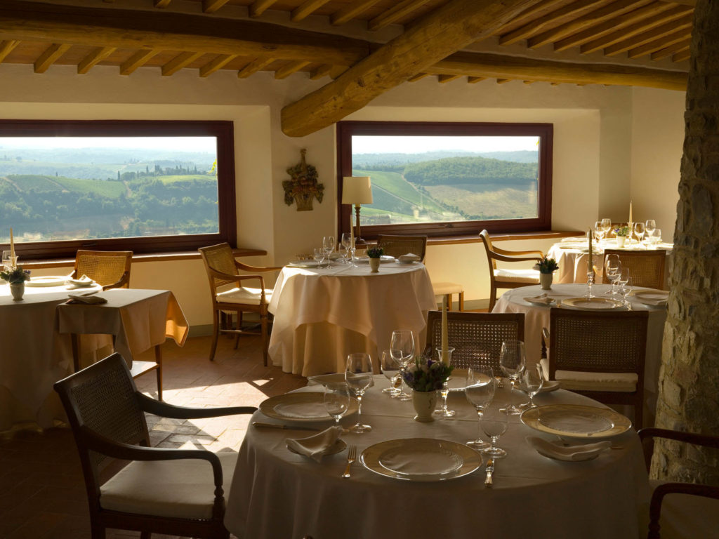 dining room with windows overlooking Tuscan countryside