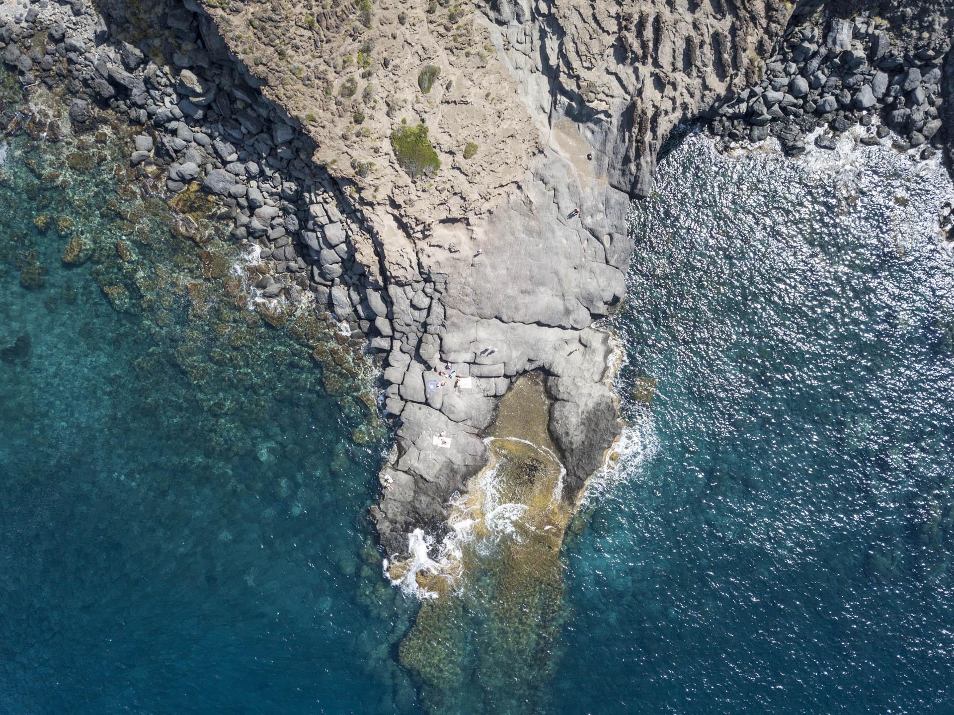 Volcanic rock shoreline