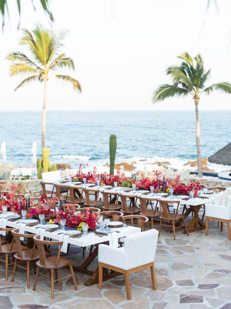 Oceanfront wedding banquet