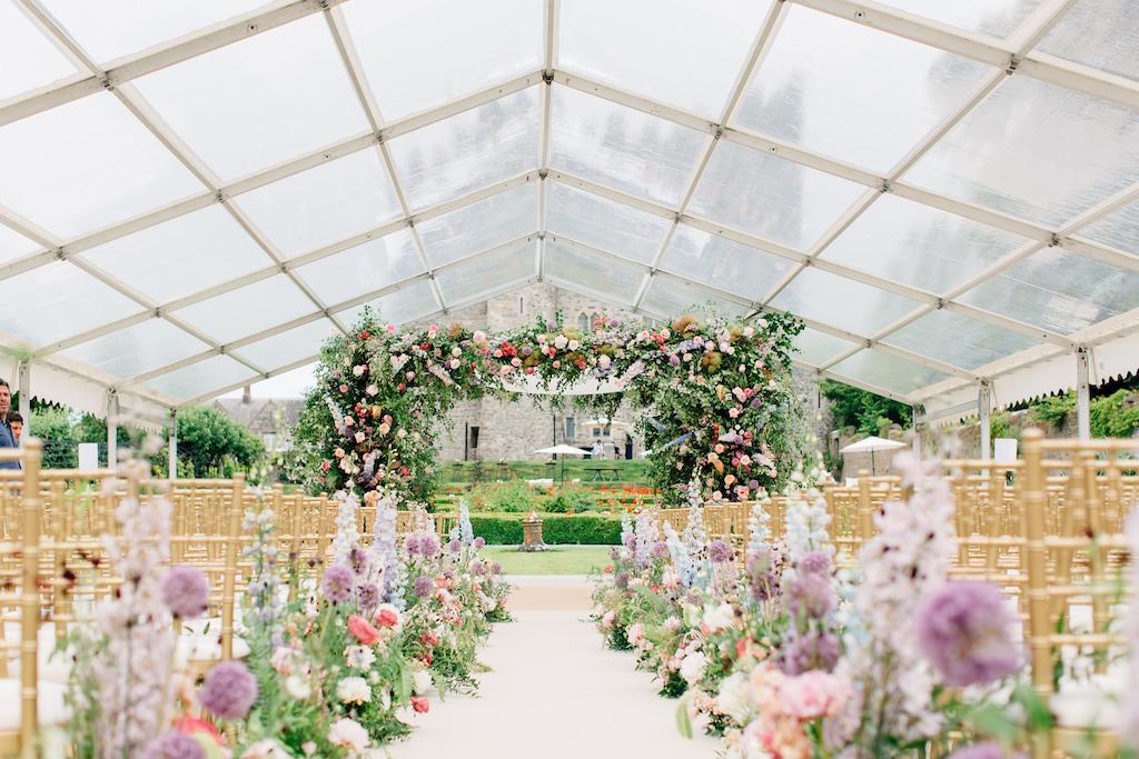 Wedding setup under marquis