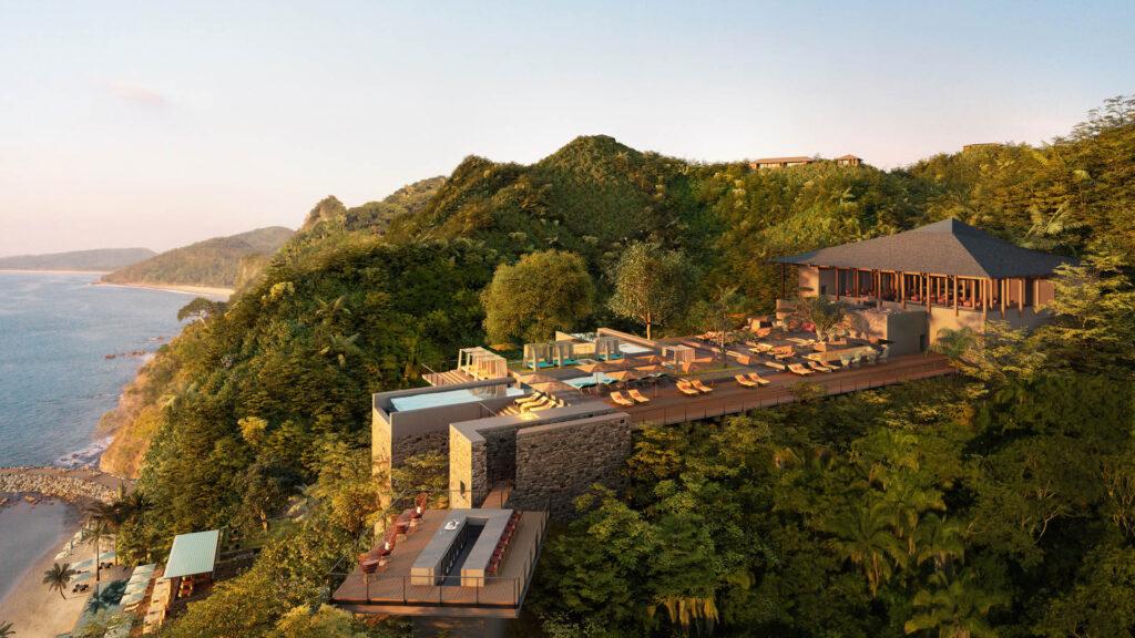 Resort built on a hill overlooking the ocean