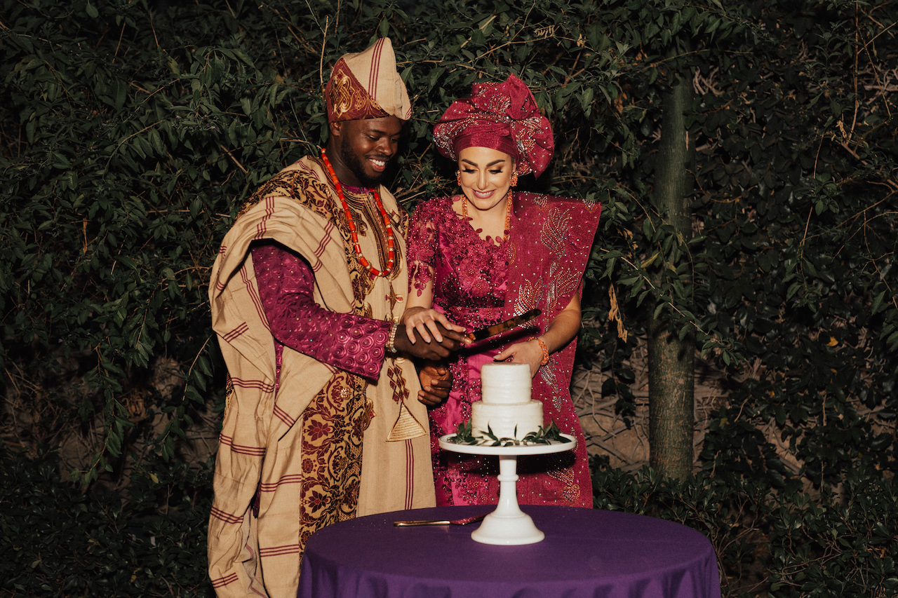Nigerian & American Cake Cuttong at the wedding