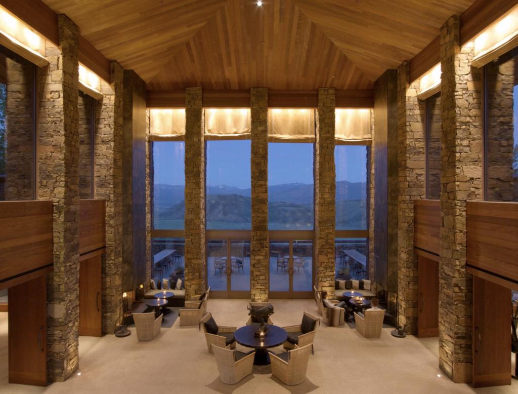 40 foot ceilings of a luxury mountain resort lobby in Wyoming