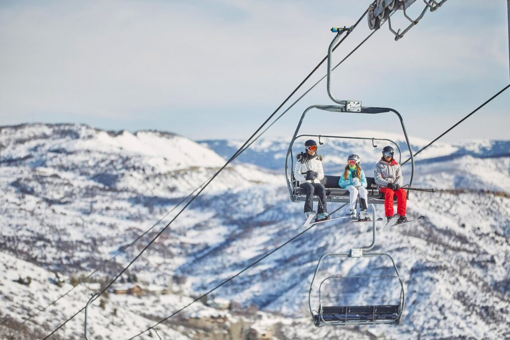 ski lift with 3 people