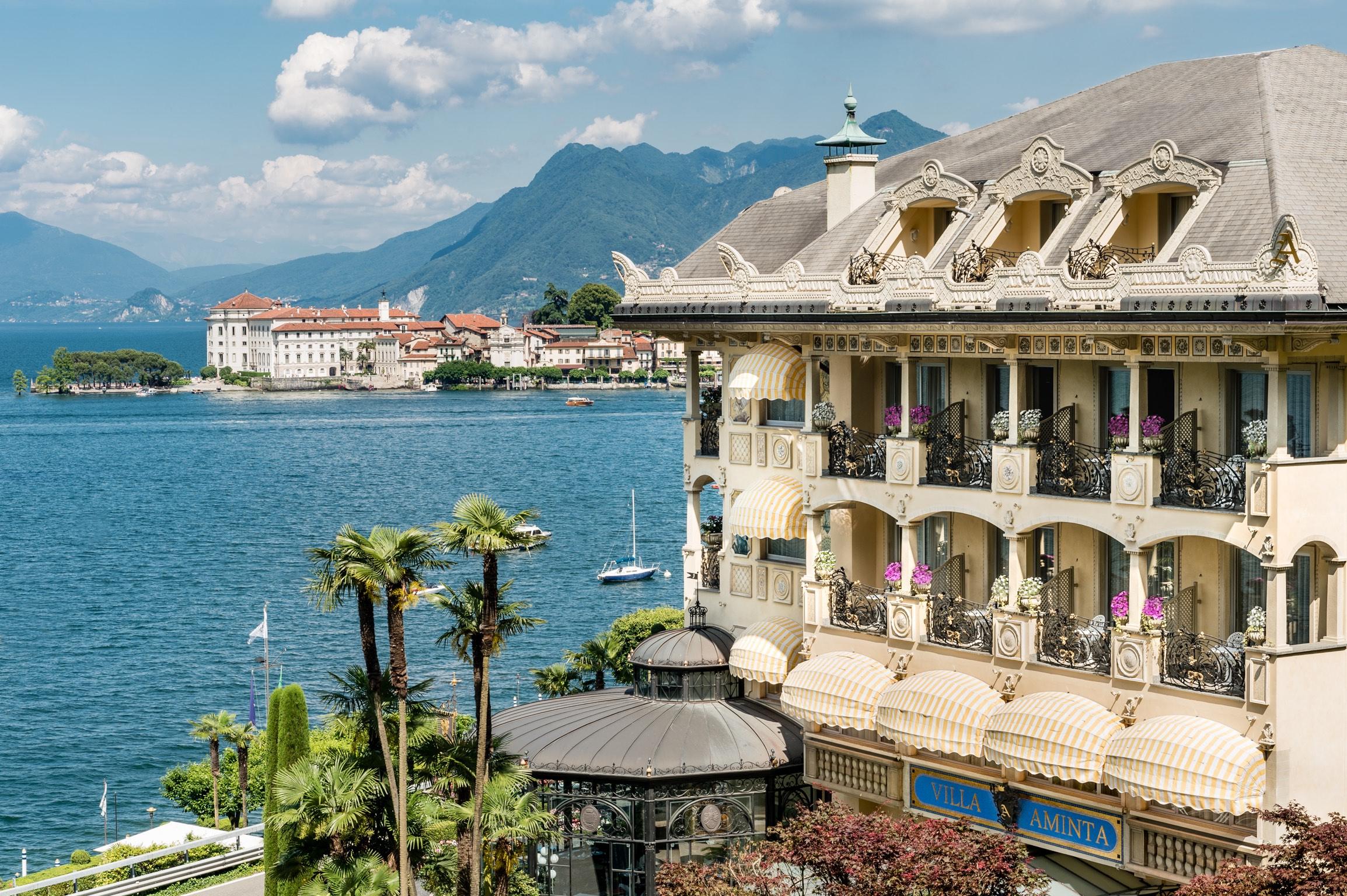 Hotel facade overlooking island in Italy