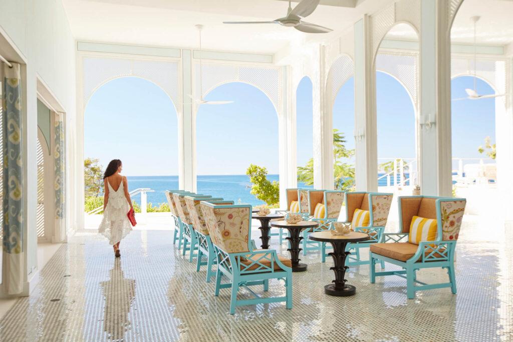 Grand lobby of beach resort hotel