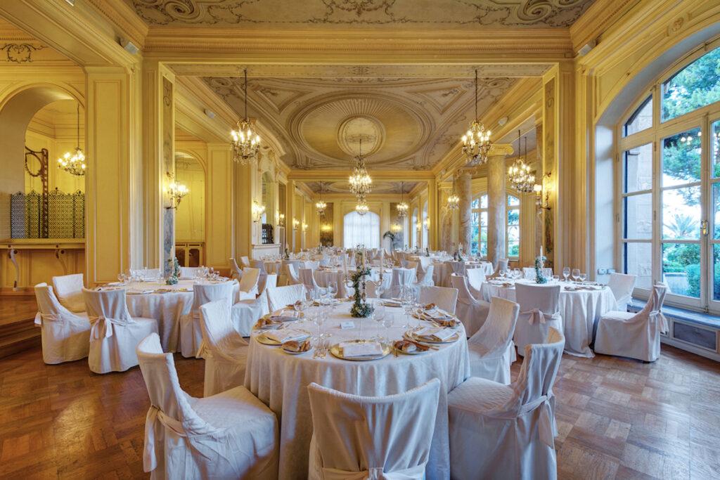 yellow ballroom wedding setup