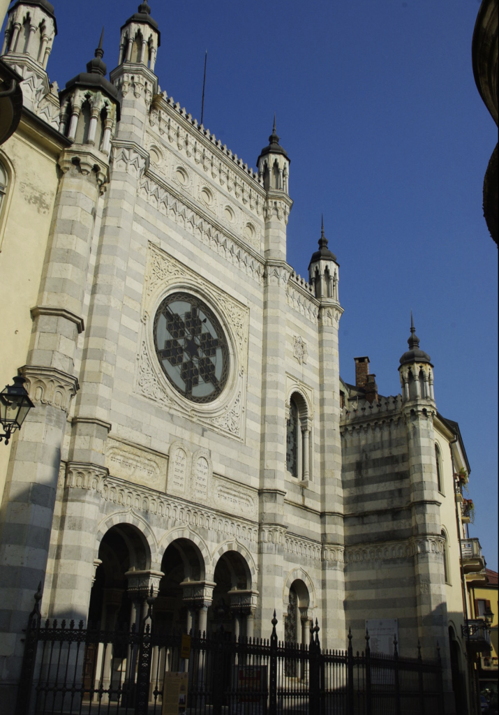 Synagogue facade of Vercelli in Italy