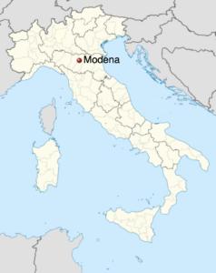 Map of Italy indicating Modena in Emilia Romagna