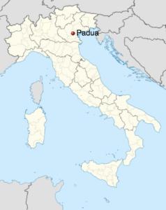 Map of Italy indicating Padua